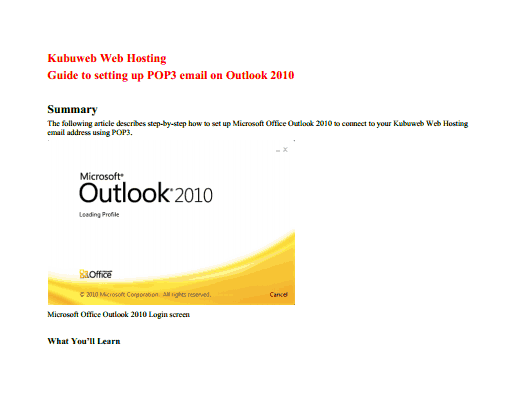Outlook 2010 Setup guide